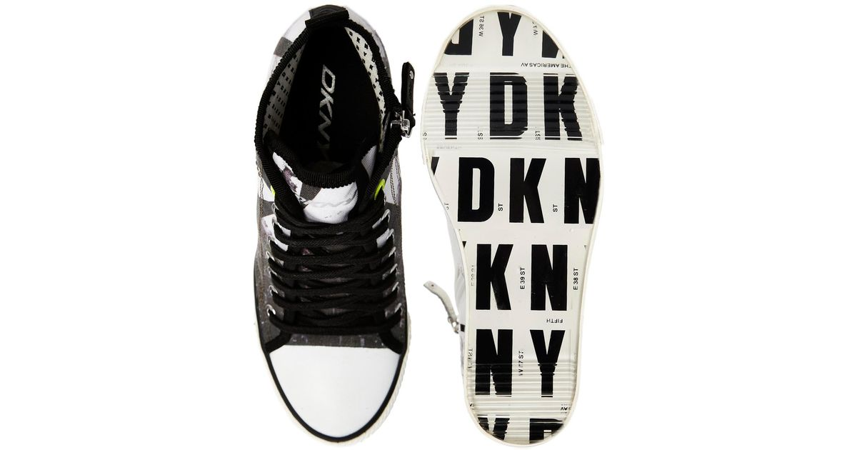 aab517d6cf7c Lyst - DKNY Active Grommet Billboard Wedge Trainers in Gray