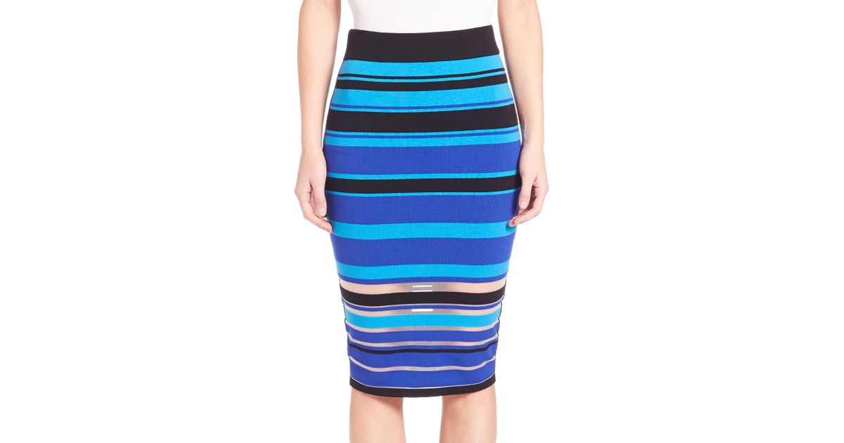 milly invisible stripe pencil skirt in blue cobalt multi