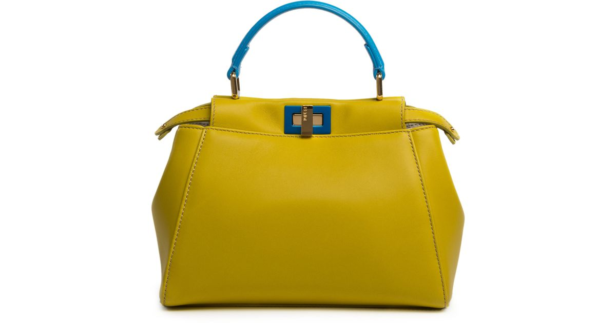 fendi handbags outlet - Fendi Peekaboo Mini Two-Toned Leather Satchel in  Yellow (lime c2b5c00999d18