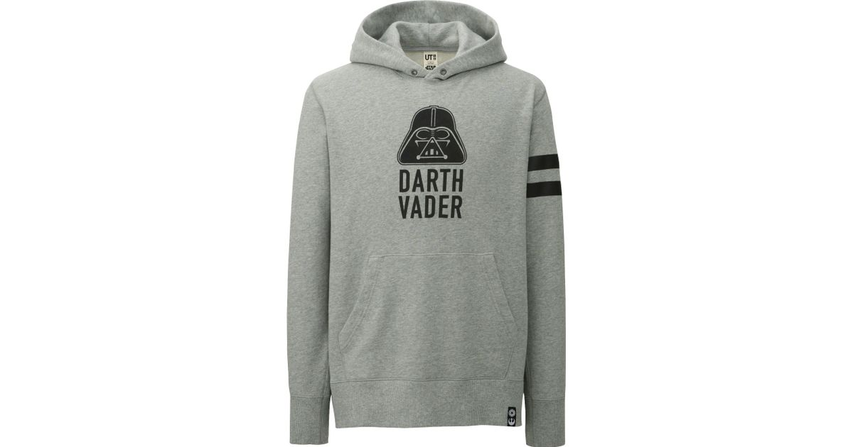 uniqlo men star wars long sleeve sweat pullover hoodie in gray for men lyst. Black Bedroom Furniture Sets. Home Design Ideas