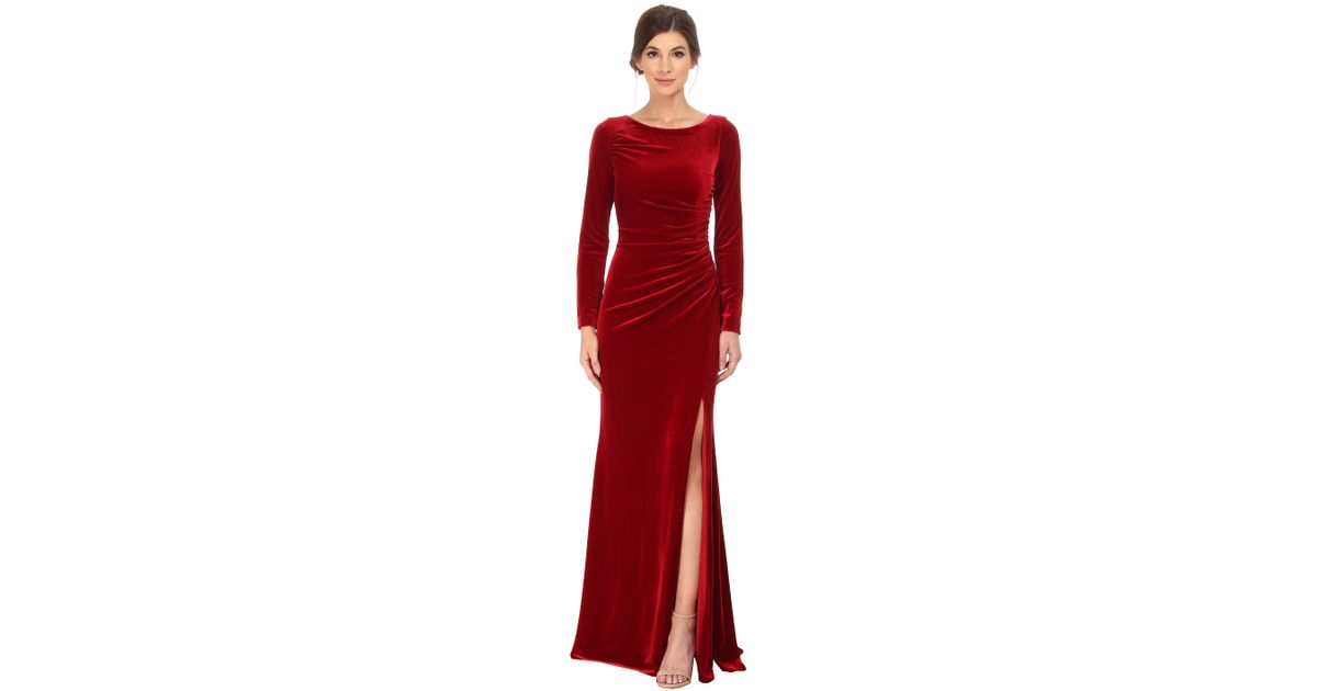 Lyst Badgley Mischka Long Sleeve Stretch Velvet Gown In Red