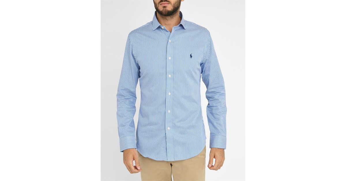 Polo ralph lauren white sky blue striped slim fit pink for Pink and white ralph lauren shirt