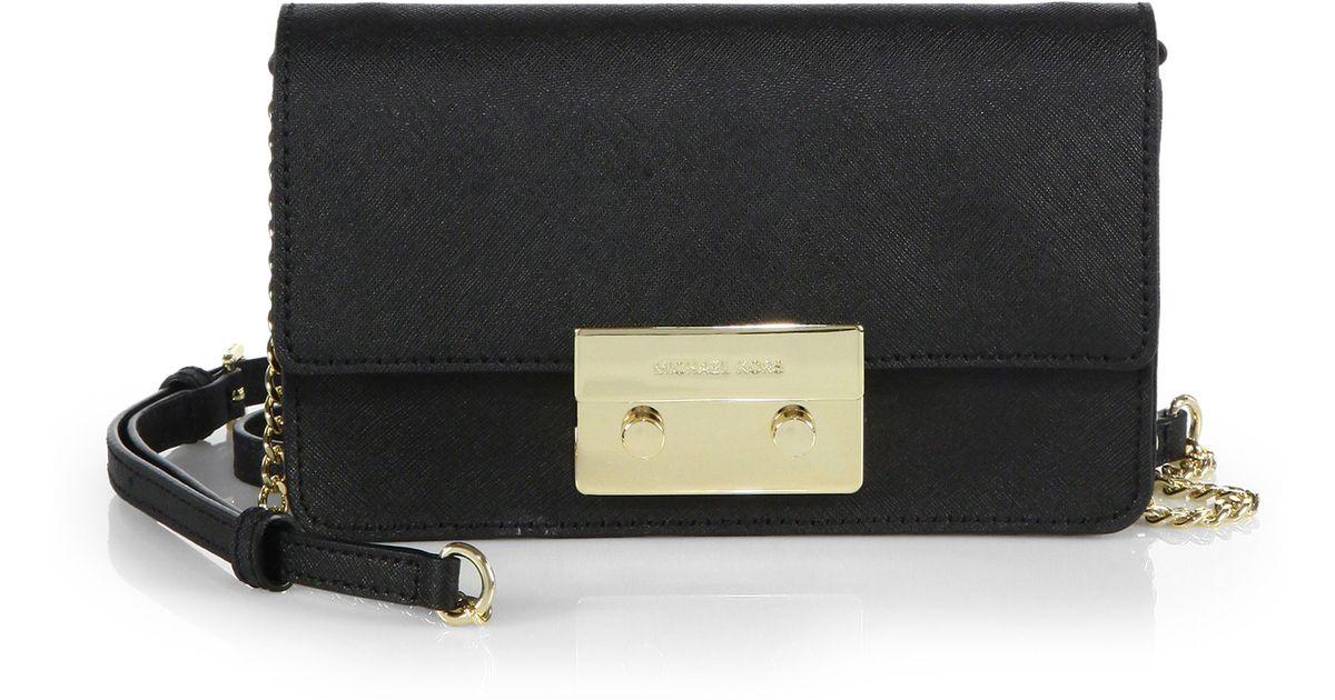 07e29483e5d0a1 MICHAEL Michael Kors Sloan Saffiano Chain Crossbody Bag in Black - Lyst