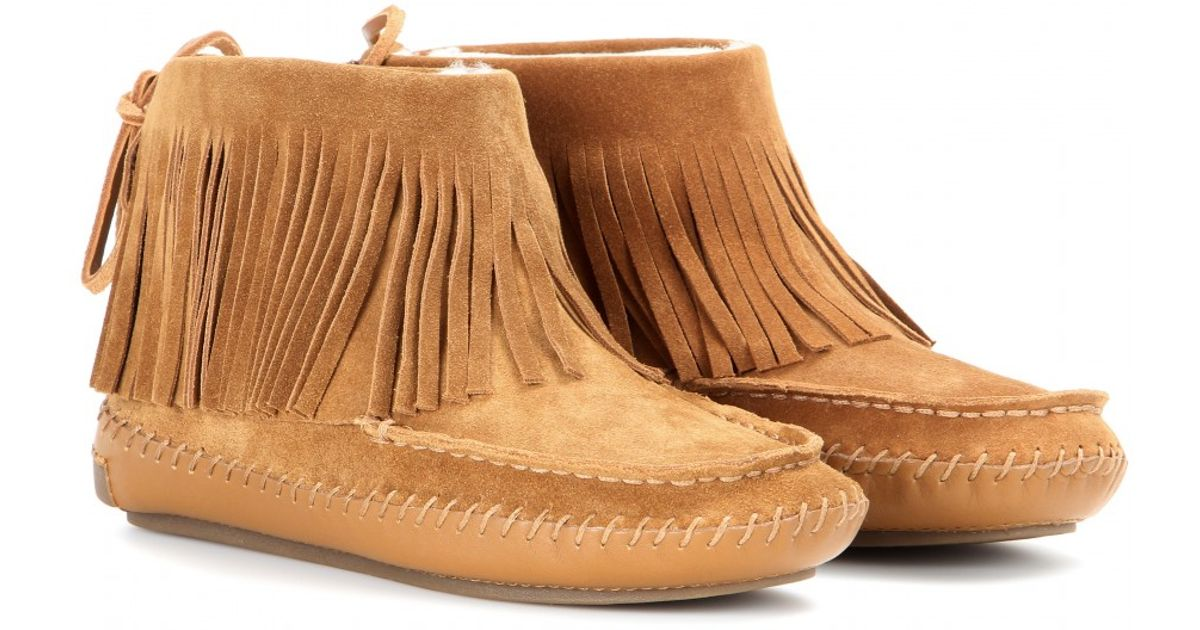 3a627181319 Lyst - Tory Burch Collins Fringe Suede Ankle Boots in Brown
