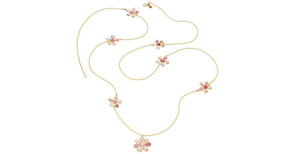 Lyst pippa small flower necklace in pink mightylinksfo