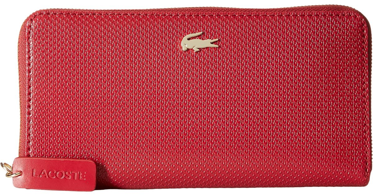 0397ed7fb7dcd Lyst - Lacoste Chantaco Large Zip Wallet in Red