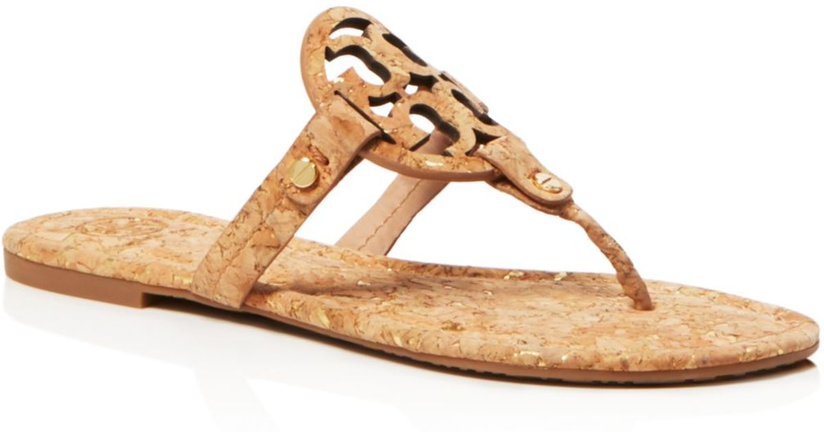 03bf3dca8856a Lyst - Tory Burch Miller Cork Sandals in Metallic