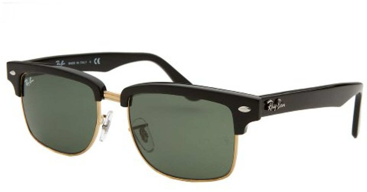 ray ban gold clubmaster  Ray-ban Clubmaster Square Black And Gold-tone Sunglasses in Black ...
