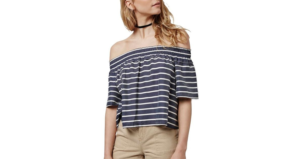 f3f71bbc4646a2 Lyst - TOPSHOP  bardot  Stripe Smock Off The Shoulder Top in Black