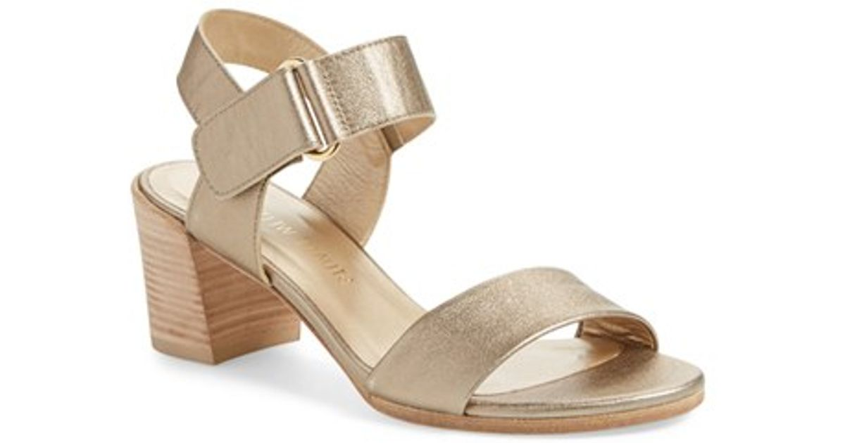 240f32a5fbe Lyst - Stuart Weitzman Broadband Leather Slingback Sandals in Natural