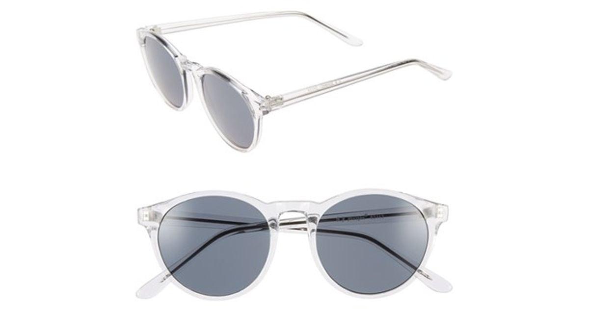 854a216dec45 A.J. Morgan  grad School  49mm Round Sunglasses - Crystal in Metallic - Lyst