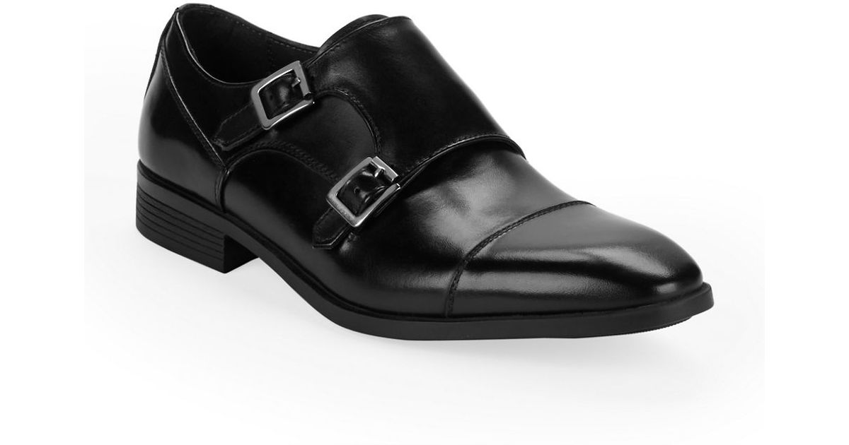 Black Brown  Cabot Leather Monk Shoes