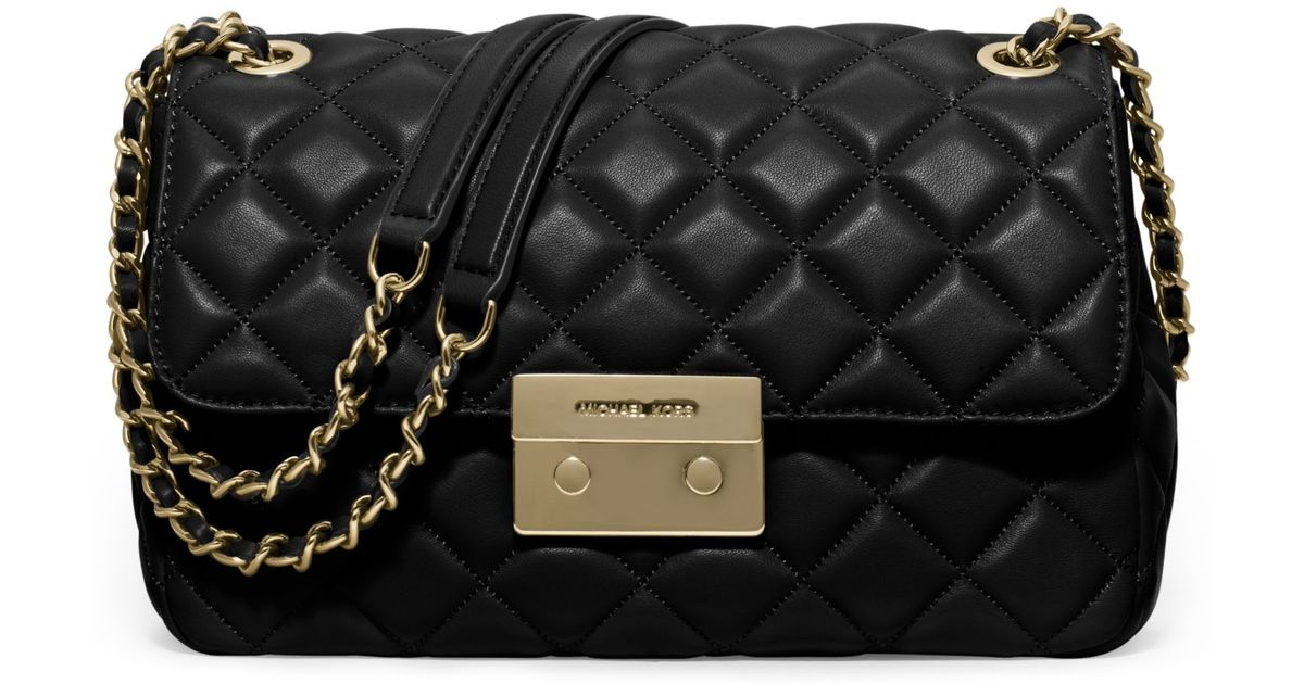 8639678c98c9c7 Michael Kors Sloan Large Quilted-leather Shoulder Bag in Black - Lyst
