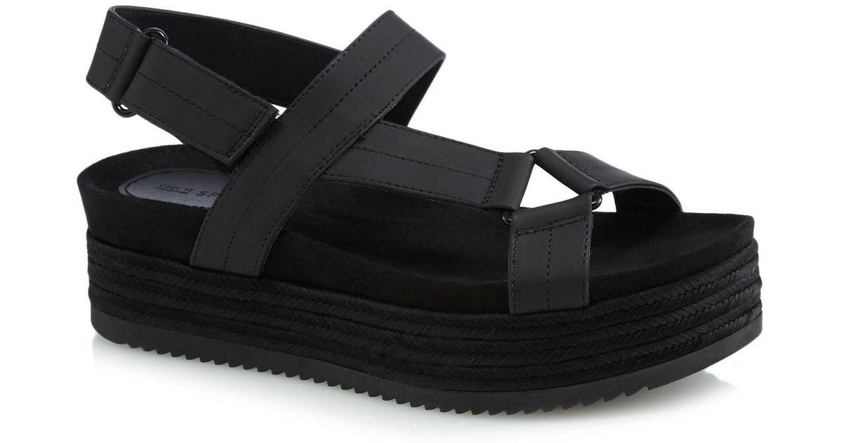 77c3ccd383e Call It Spring Black  piresien  Mid Platform Heel Ankle Strap Sandals in  Black - Lyst