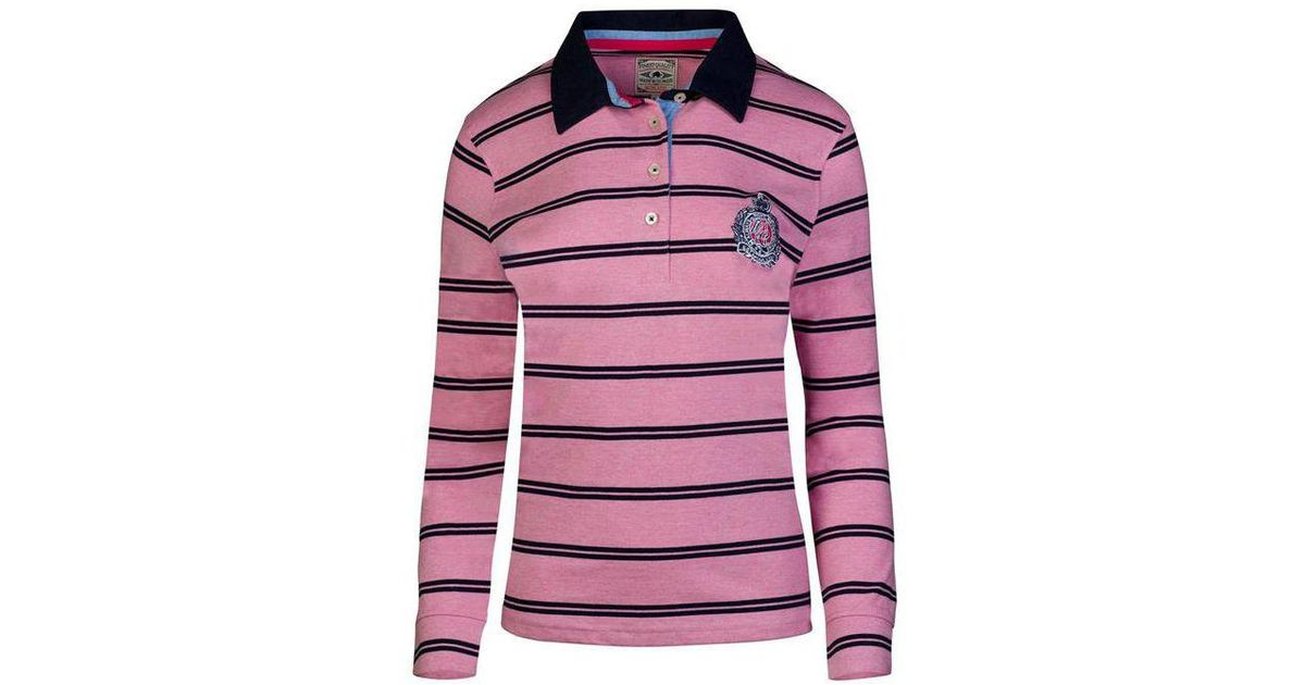 d2c68f232e0 Raging Bull Pink Long Sleeves Stripe Rugby Shirt in Pink - Lyst