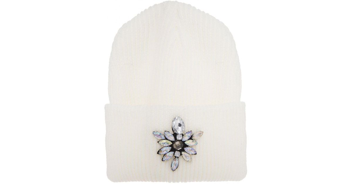 c05fc0d5a58 Quiz White Diamonds Beanie Hat in White - Lyst