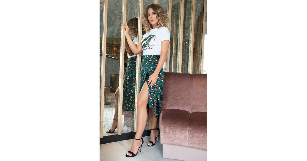 12570727293b Quiz Towie Green And Orange Satin Leopard Print Wrap Skirt in Green - Lyst