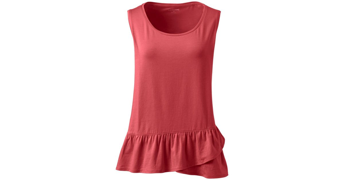 Womens Petite Vest Top with Ruffle Hem - 10 -12 - Green Lands End