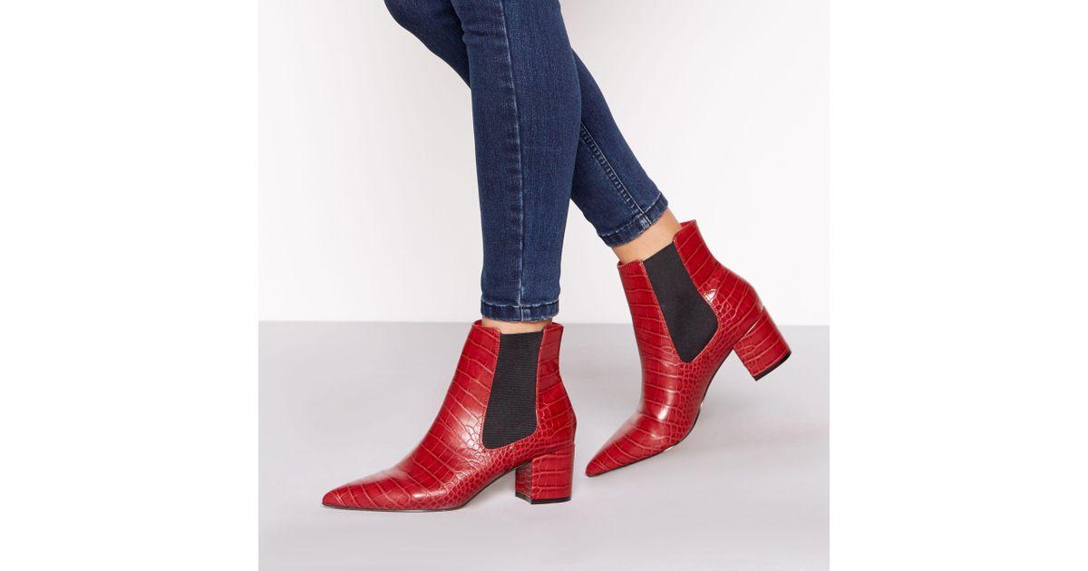 3cdf0f5457a J By Jasper Conran Red Croc-effect Block Heel Chelsea Boots in Red - Lyst