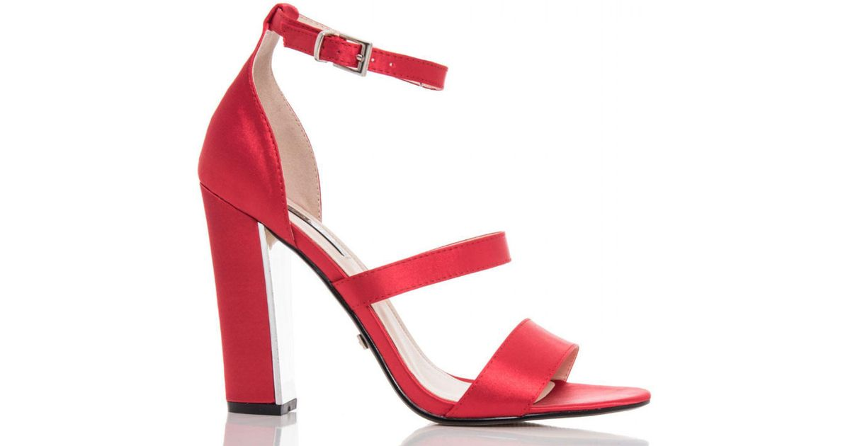 fed6dee572c Quiz Red Satin Strappy Block Heel Sandals in Red - Lyst