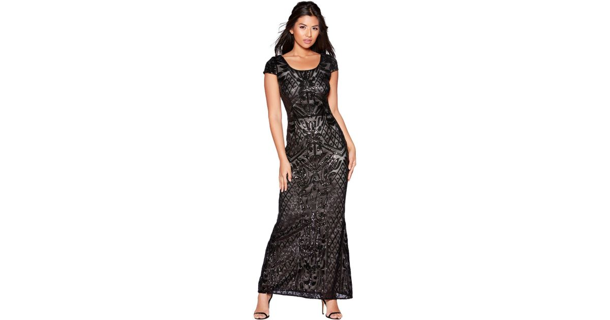 Sequin Maxi And Nude Quiz Mesh Black Dress tsrhdQC