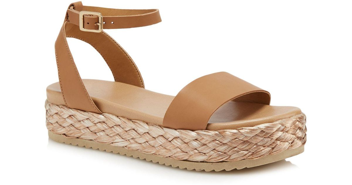 40da3c0d540 Faith Tan Leather  jake  Mid Flatform Ankle Strap Sandals in Brown - Lyst