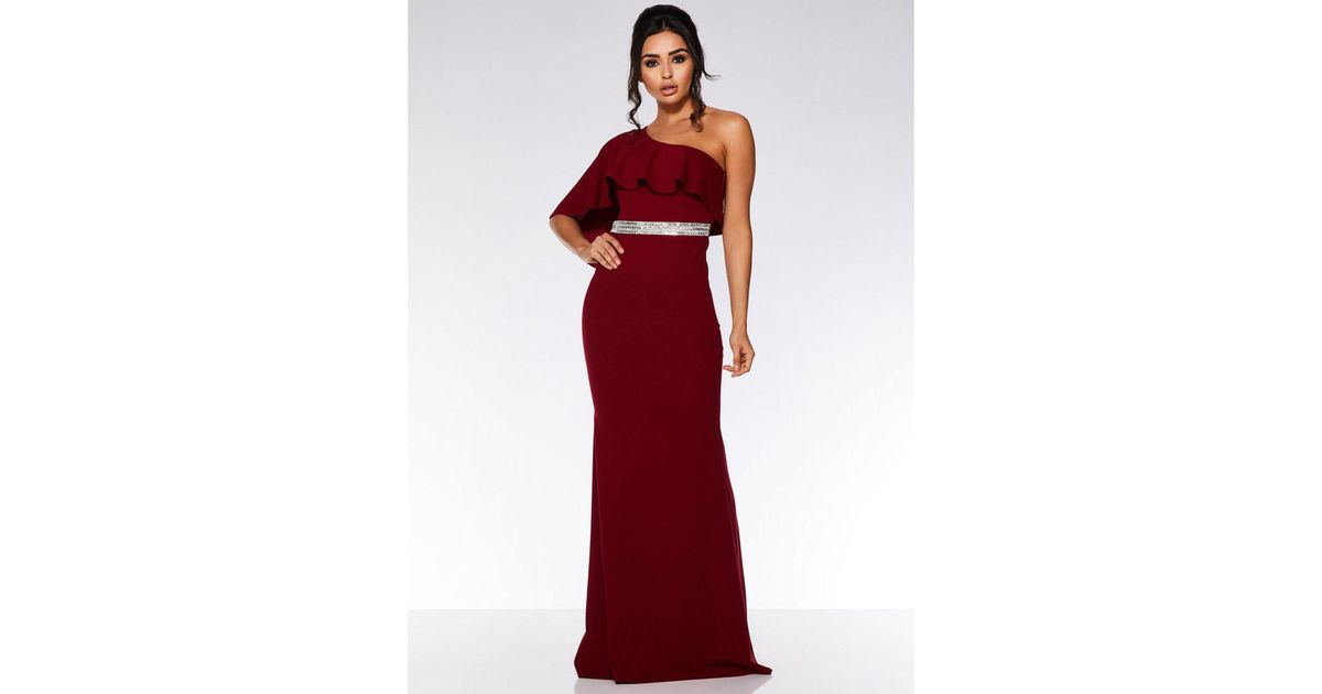 9543216b8 Quiz Berry One Shoulder Frill Maxi Dress in Red - Lyst