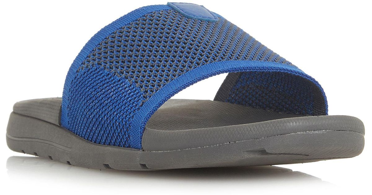 db527a453f6b Dune Blue  hanks  Knit Strap Slider Sandals in Blue for Men - Lyst