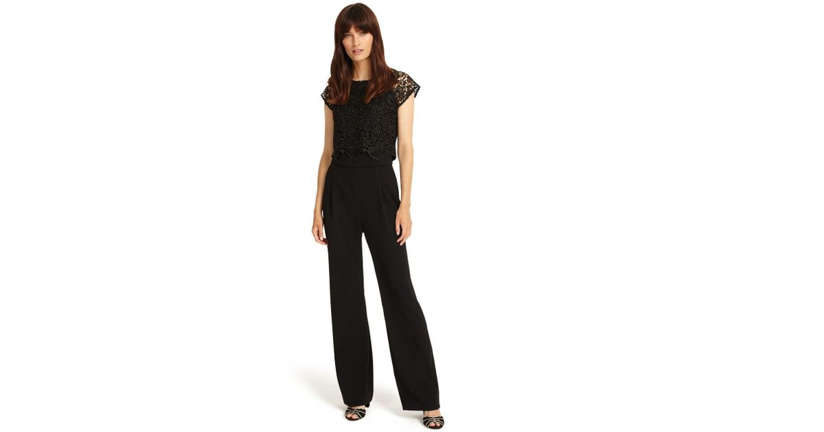 0d450fa6e82 Phase Eight Black Cortine Lace Jumpsuit in Black - Lyst