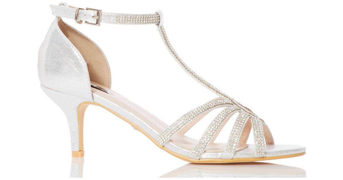 564d33d63b2 Quiz Silver Shimmer Twist Mid Heel Sandals in Metallic - Lyst