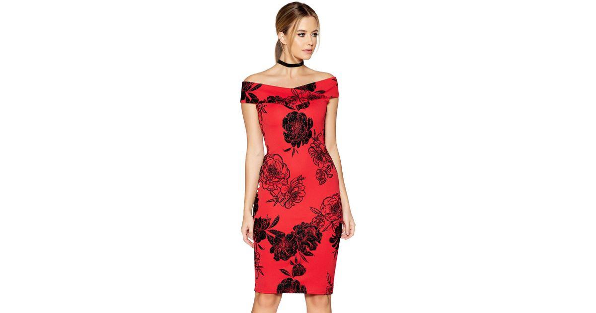 cf64f0e4b94 Quiz Red Glitter Flock Floral Print Bardot Dress in Red - Lyst