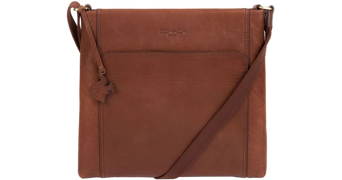 f6d11f1409 Conkca London Conker Brown  lina  Leather Cross-body Bag in Brown - Lyst