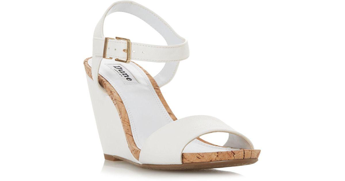 8b1b97f7942d Dune White  kezsha  High Wedge Heel Ankle Strap Sandals in White - Lyst