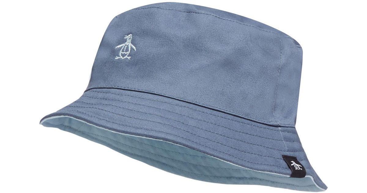 Original Penguin Blue Reversible Bucket Hat in Blue for Men - Lyst a8f8e6dbcee