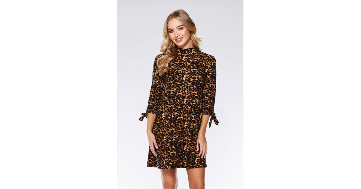 2a1afcb7d44d Quiz Brown And Black Leopard Print Tunic Dress in Brown - Lyst