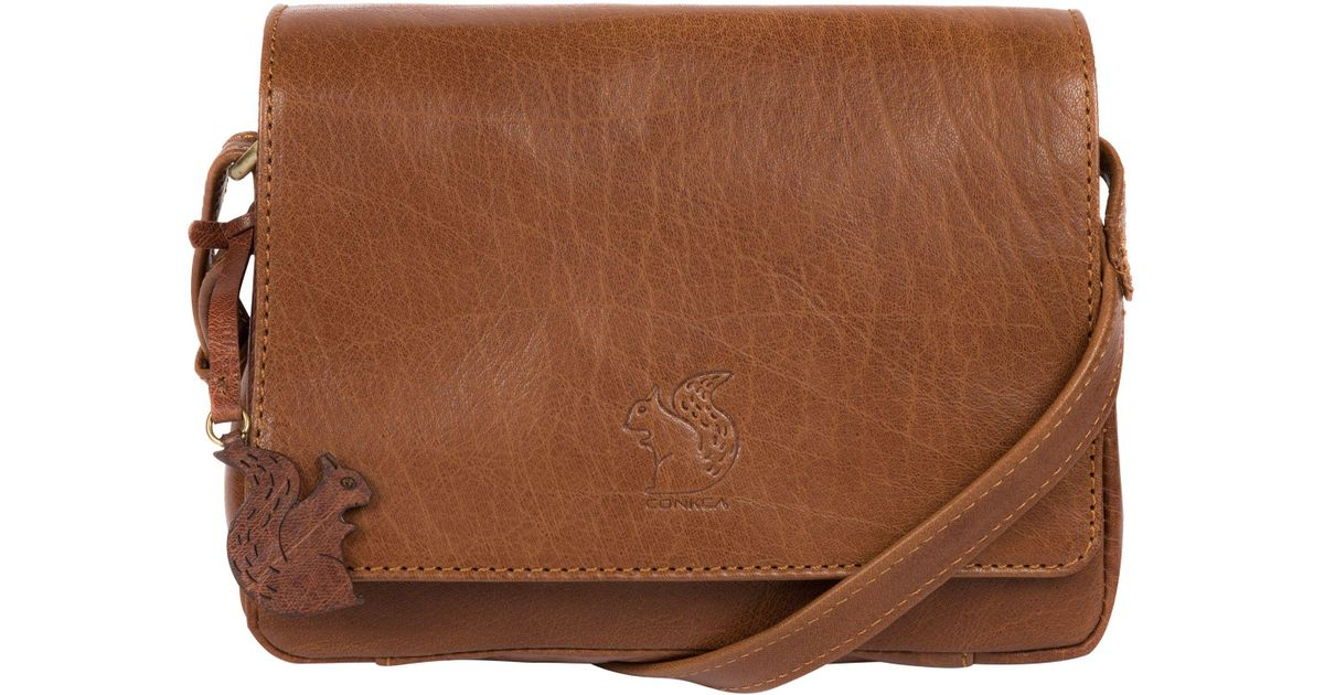 1669fc5f21e1 Conkca London Dark Tan  marta  Handcrafted Leather Cross-body Bag in Brown  - Lyst
