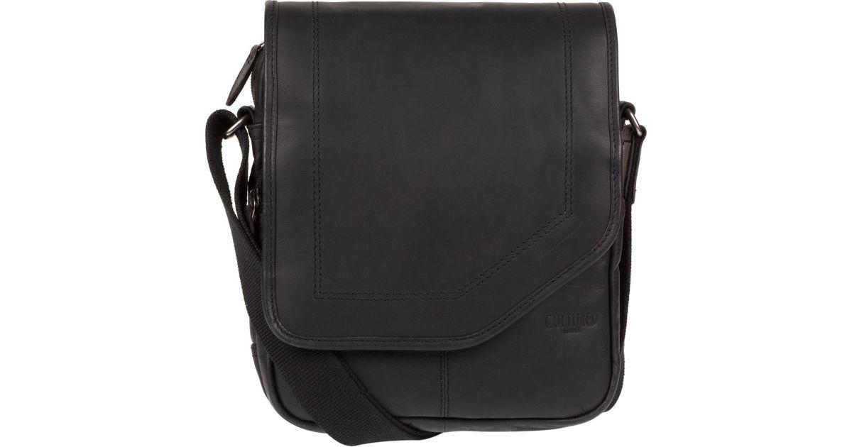 e66bfb1d9f2c Cultured London Black 'trip' Small Leather Despatch Bag for men