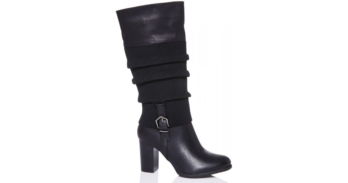 f4b5a14c4bde Quiz Black Ruched Calf High Heel Boots in Black - Lyst
