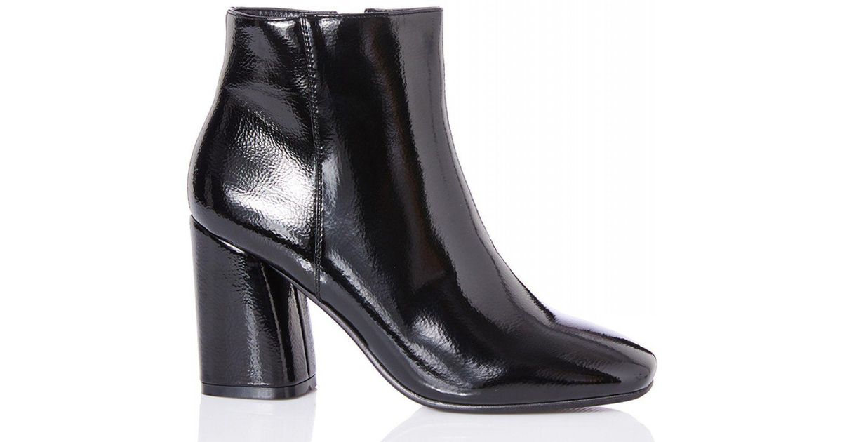 8fac94edebc Quiz Black Patent Block Heel Ankle Boots in Black - Lyst