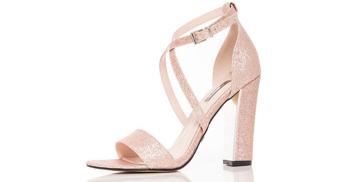 3f415465c7b Quiz Rose Gold Glitter Block Heel Strappy Sandals in Metallic - Lyst