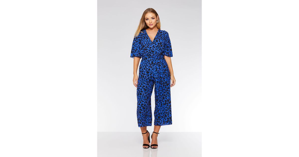 79c7a7f5dd3 Quiz Blue And Black Leopard Print Wrap Jumpsuit in Blue - Lyst