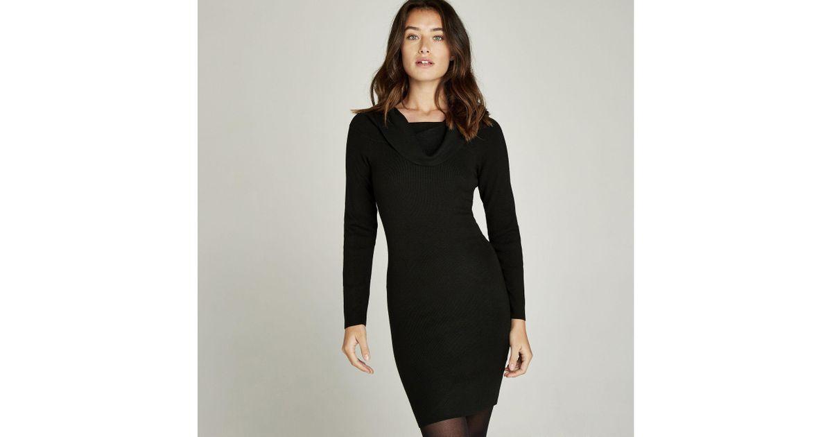 Apricot Black Bardot Bodycon Knit Dress In Black Lyst