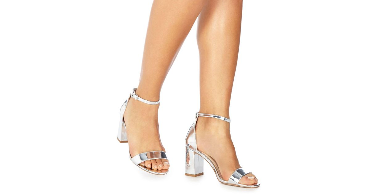 0b0a4781b43 Faith Silver  demi  High Heel Wide Fit Ankle Strap Sandals in Metallic -  Lyst