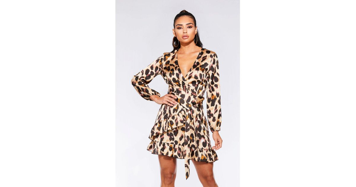 b44c5a8548 Quiz Stone And Black Satin Leopard Print Wrap Dress in Black - Lyst