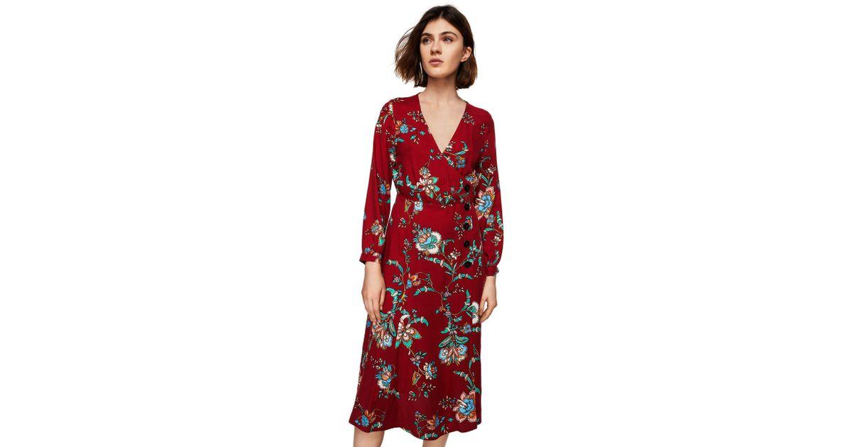 db65f7cab95e1 Mango Red Floral Print 'lauren' V-neck Midi Wrap Dress in Red - Lyst