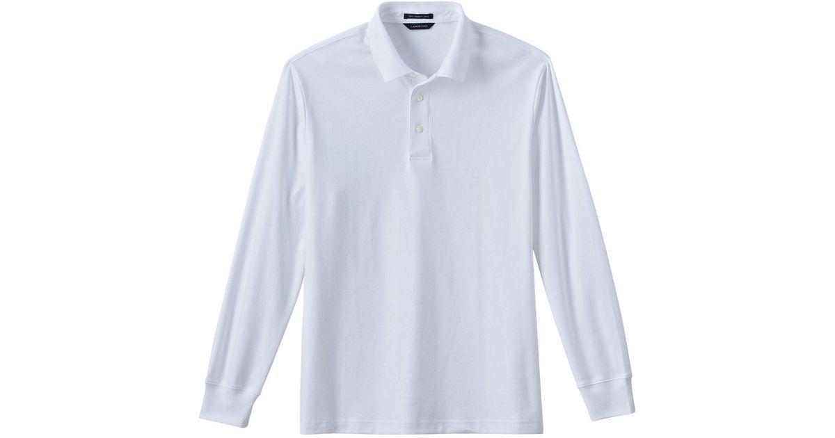 92c12d44d61 Lands' End White Men's Long Sleeve Supima Polo in White for Men - Lyst