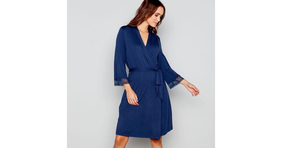 J By Jasper Conran Navy Dressing Gown in Blue - Lyst