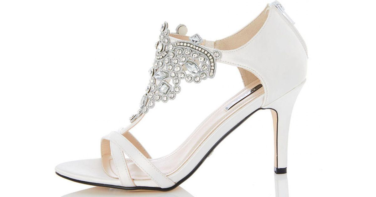21f2b6643e7b Quiz White Satin Jewel Front Bridal Sandals in White - Lyst