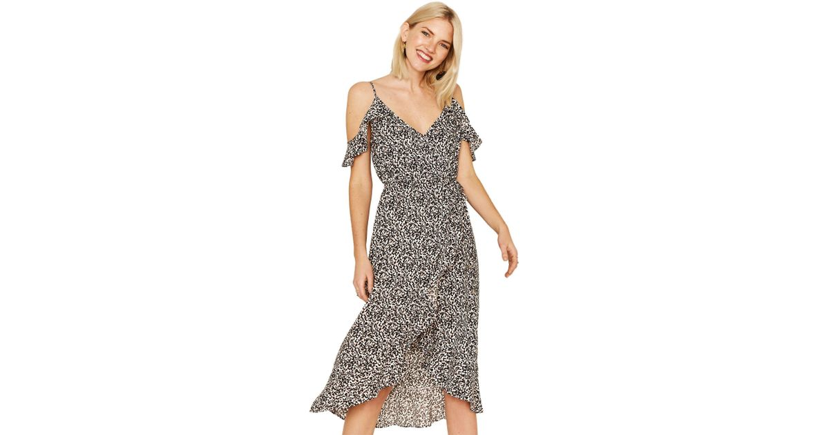 eee7d1939705 Oasis Black And White Animal Cold Shoulder Midi Dress in Black - Lyst
