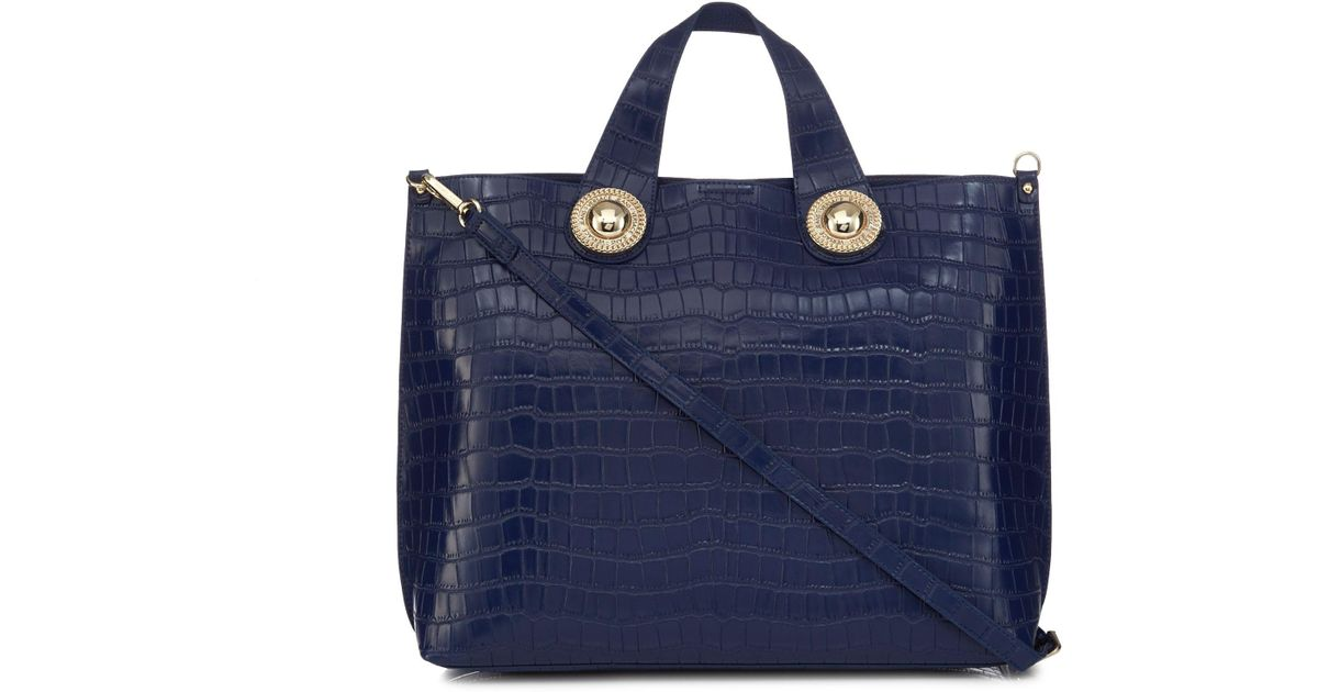 Versace Jeans Blue Croc-effect Large Tote Bag in Blue - Lyst ab3f9f392b